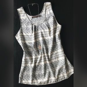 LIMITED Silky Ivory & Black Floral Sleeveless Top